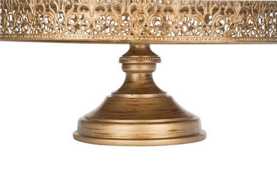 Gold Cake Stand 16 Inch Round Cake Stand by PlatinumHomeDesigns