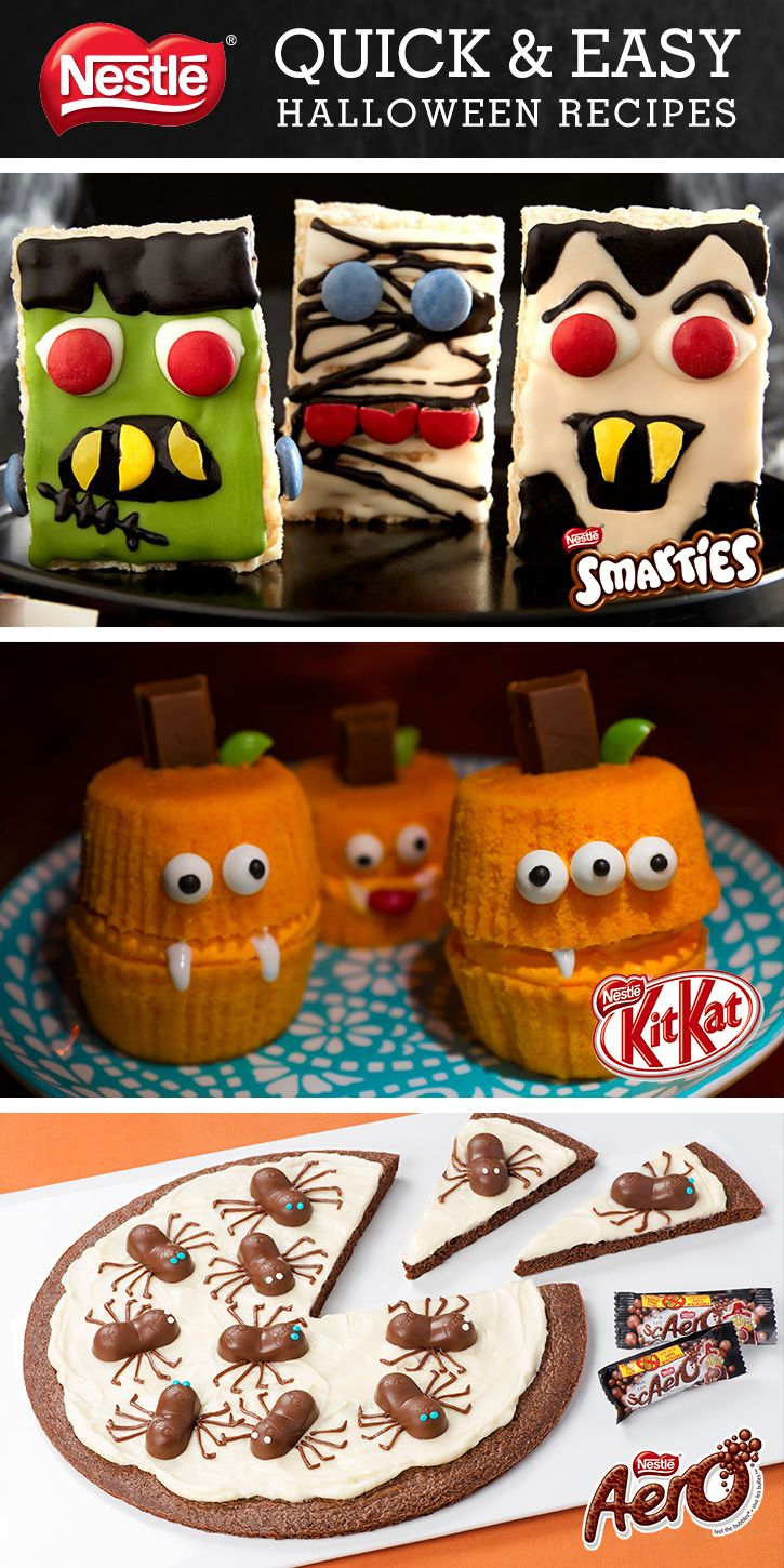 Quick and easy Halloween recipe ideas, using your favourite KIT KAT, SMARTIES, COFFEE CRISP and AERO Halloween treats!   Visit madewithnestle.ca/recipes/halloween for more spooktacular Halloween treat ideas!