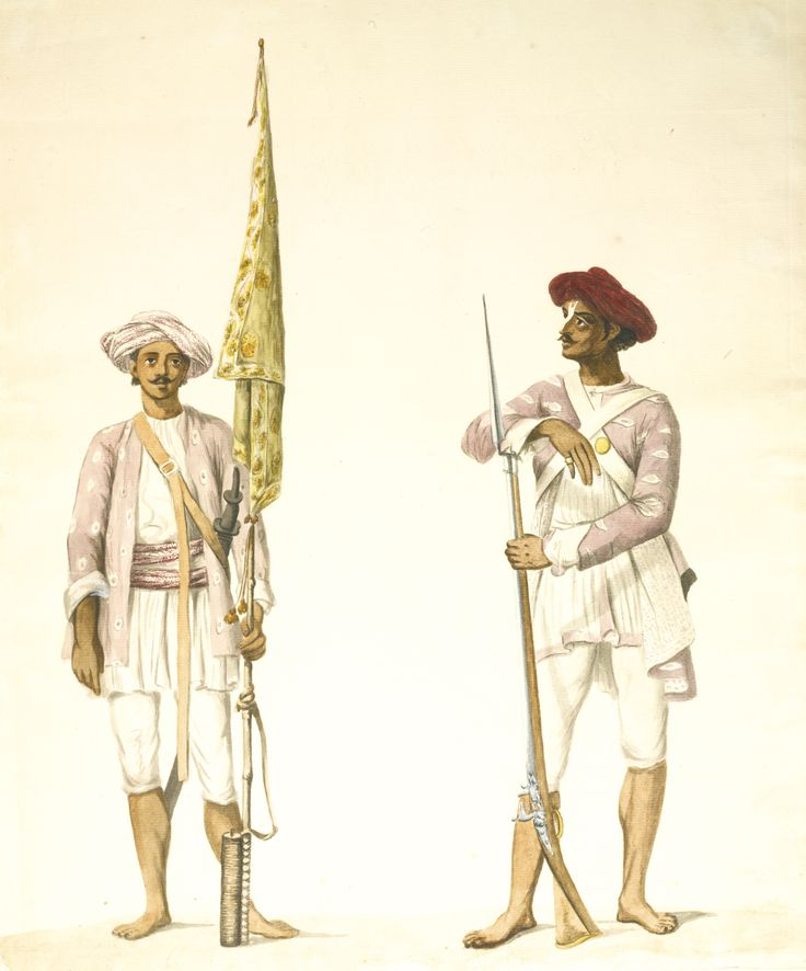 TWO STUDIES OF SOLDIERS IN TIPU SULTAN'S ARMY, ATTRIBUTABLE TO ROBERT HOME (D.1834), MADRAS, CIRCA 1793-94,