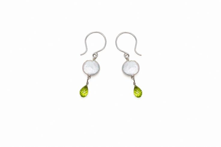 Disc Pearl Faceted Peridot Briolet Drop Earrings