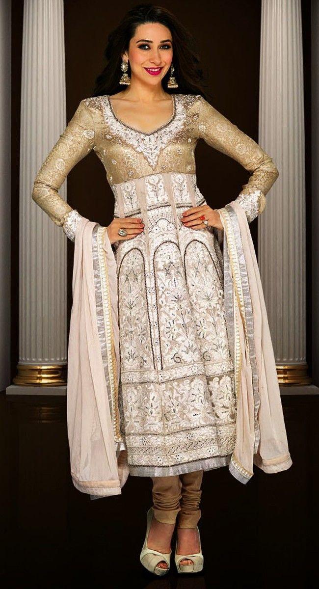 Unique Beige Brown & Off White Salwar Kameez