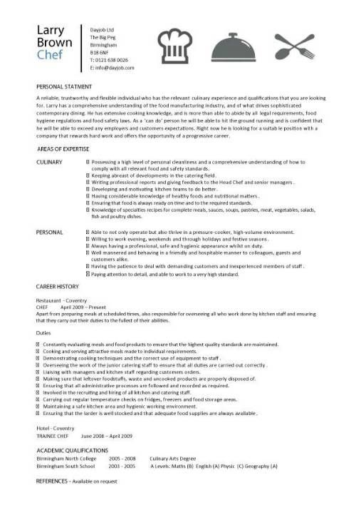 sample resume for chef de partie