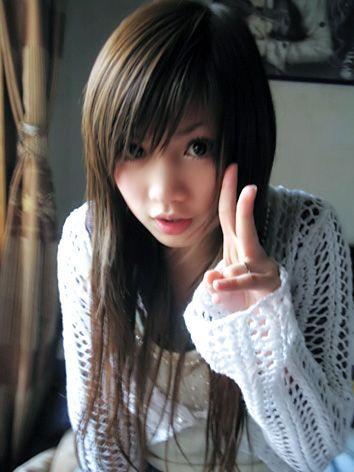 Asian mullet hair.