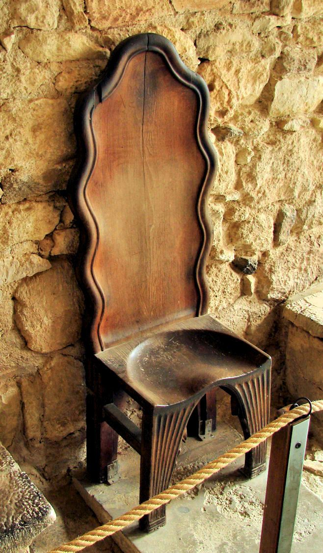 Old carved wooden seat beside the Throne Hall ~  Knossos Palace, Crete Island, Greece