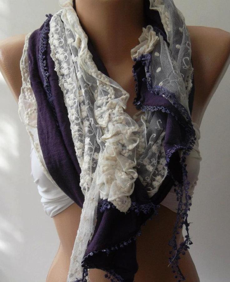 Purple - Elegance Shawl / Scarf with Lace Edge. $19.90, via Etsy.
