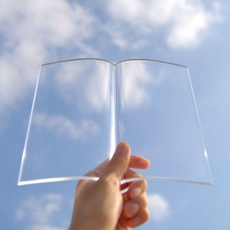 A transparent acrylic paperweight to hold down the pages of a book as you eat and drink while reading. (O•O)