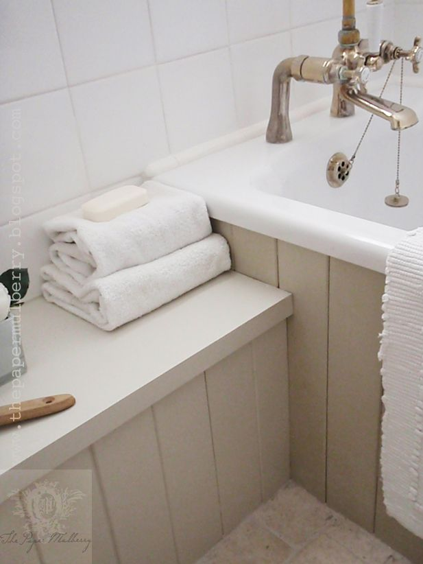 favourite paint shades: thetongue and grovepanellingon the bath is painted inFarrow and Ball 'Stony Ground' shade 211with the bench painted in Farrow and Ball 'Shaded White 201