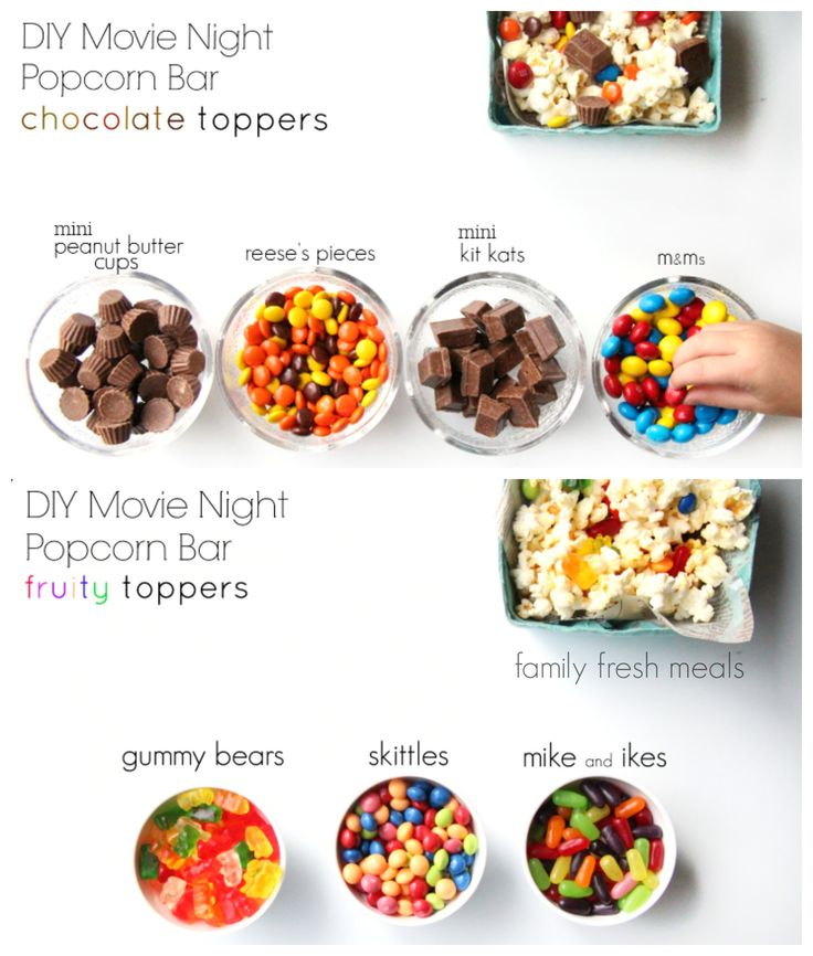 DIY Movie Night Popcorn Bar -- FamilyFreshMeals.com - Just think of all the different options from WinCo Bulk Foods! <3