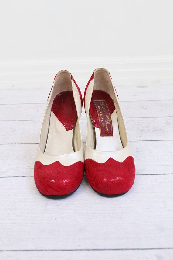 Red and White spectator pumps, c.1940s.