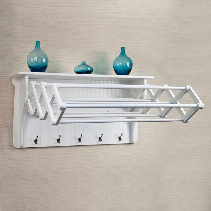Wall Shelf with Collapsible Drying Rack and Hooks, White