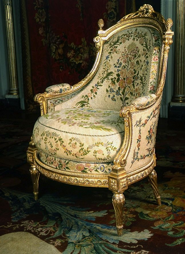 LOVE AND ADMIRE THE ESQUISITE NEEDLEPOINT ON THIS CHAIR--IT JUST SUITES THE STYLE OF THE CHAIR,,,,, .
