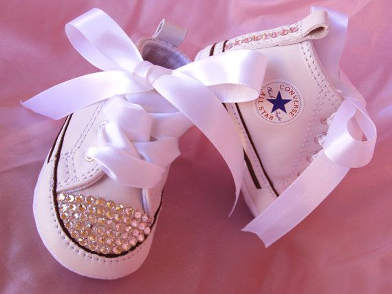SIMPLY CRYSTALS Infant Girl Converse Christening Wedding Baptismal Swarovski Baby Crib Shoe Sizes 1 , 2 , 3, & 4 Sneaker via Etsy