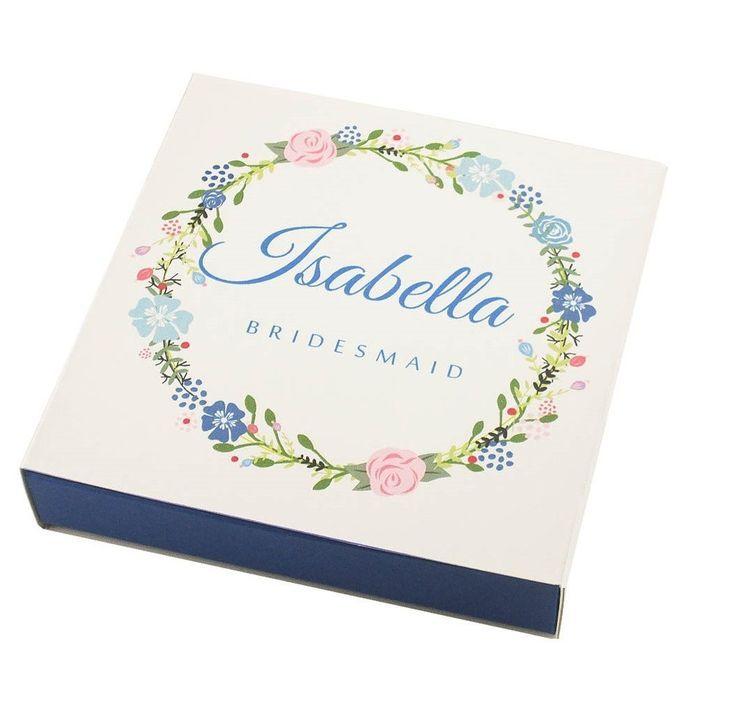 Personalized blue bridesmaid gift box Demoiselle honneur cadeau Brautjungfer-geschenk-boxen #bridalshowergift #bridalshowerpresent #maidofhonorproposal #demoiselledhonneur #damadehonor #trauzeugin #brautjungfern