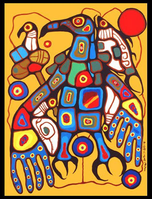 Norval Morrisseau Facts, Articles Art: Man Changing into Thunderbird - Panel Six of Six - Norval Morrisseau 1977