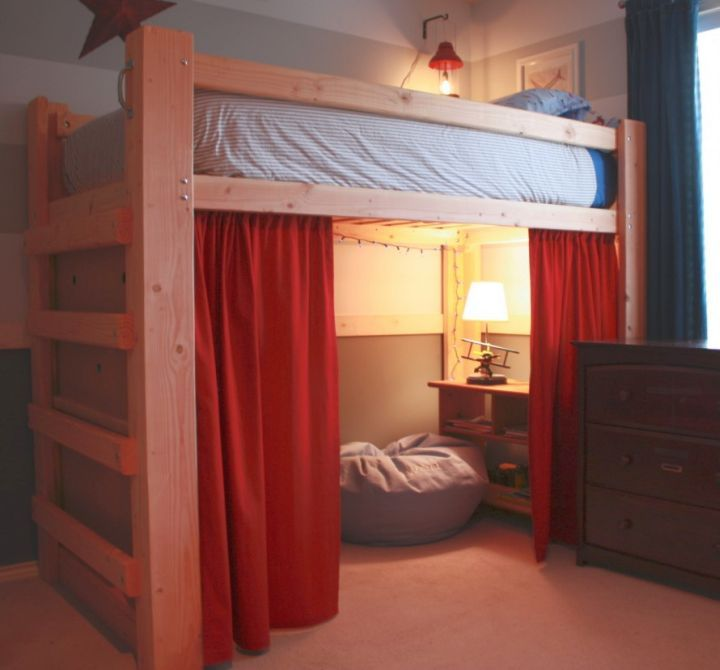 adult loft bed with stairs with curtains