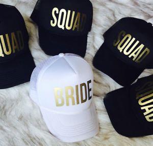 BRIDE & SQUAD Snapback Baseball Caps Hat Gold Foil Print Hen Party Beach Cap Hat