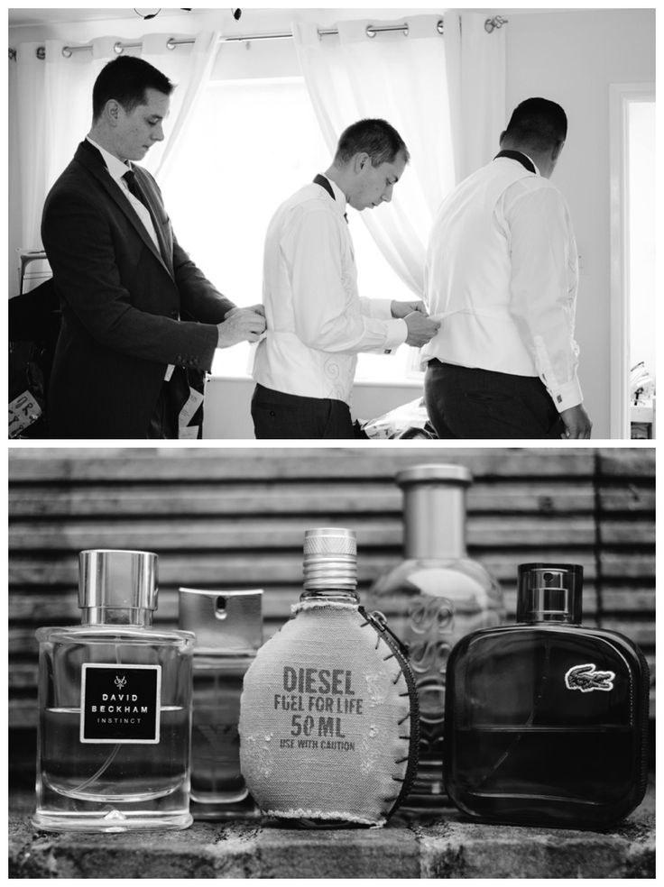 Groomsmen getting ready and cologne