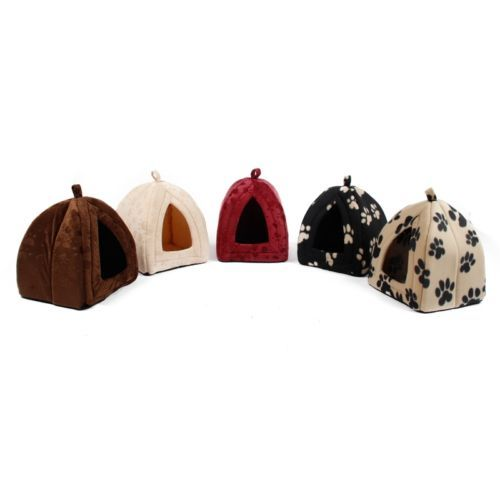 Pet Bed Dog Igloo House Kennel Puppy Dog Cat Cozy Soft Cushion House Kennel Beds | eBay