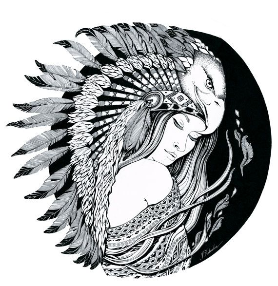 Ink on paper   Dream of feathers Illustration by IoanaZdralea, $600.00