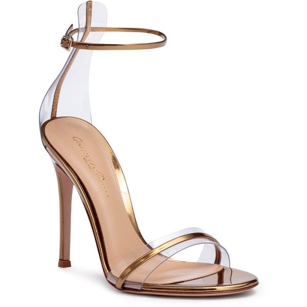 Portofino 105 Pvc-Trimmed Bronze Sandals (22 540 UAH) ❤ liked on Polyvore featuring shoes, sandals, brown, ankle strap sandals, metallic sandals, ankle strap high heel sandals, brown shoes and bronze high heel sandals