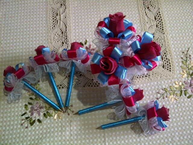 Blue pink guest book pen