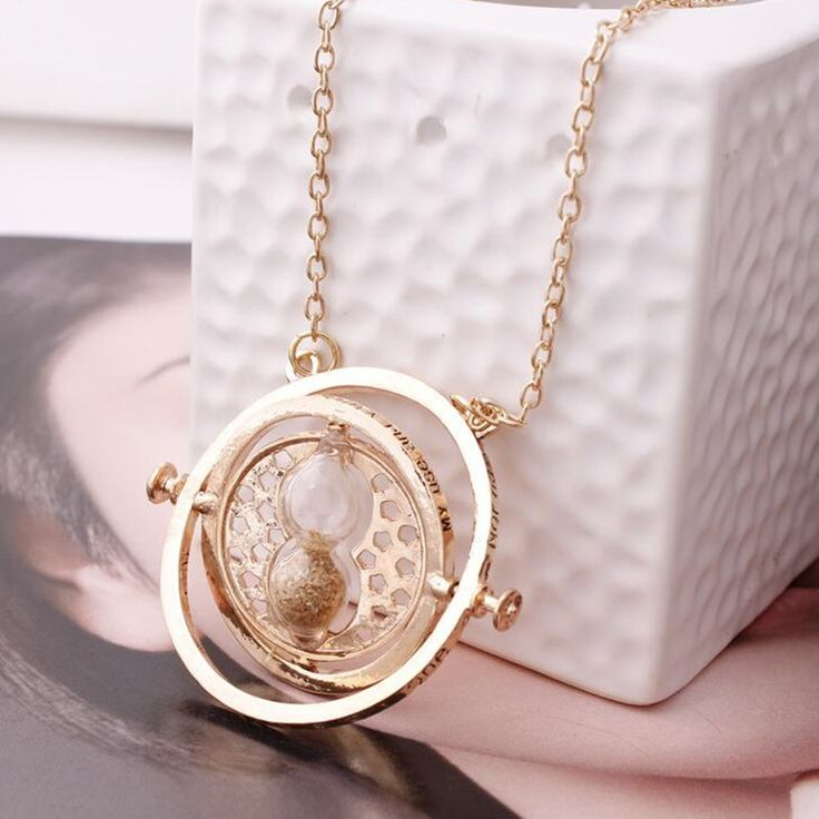 Hot Sale Gold Harry plated time turner Potter necklace hourglass vintage pendant Hermione Granger for women lady girl wholesale