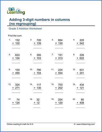 grade 3 addition worksheet adding 3 digit numbers in columns no regrouping math worksheets. Black Bedroom Furniture Sets. Home Design Ideas