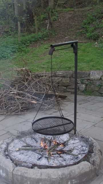 I like the curved ones better. Outdoor grill and fire pit