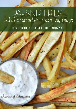 Parsnip Fries. Very good, sort of a sweet taste. Used whole bag organic parsnips and made 1/2 portion the rosemary  dipping sauce. Very good both kids & husband loved them.