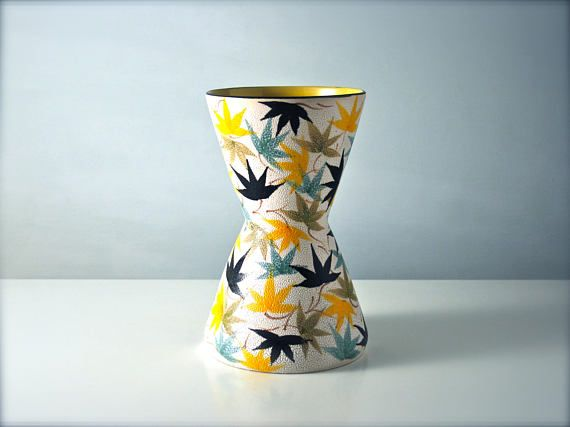 Retro vase. Yellow grey black leaf design. German Italian.