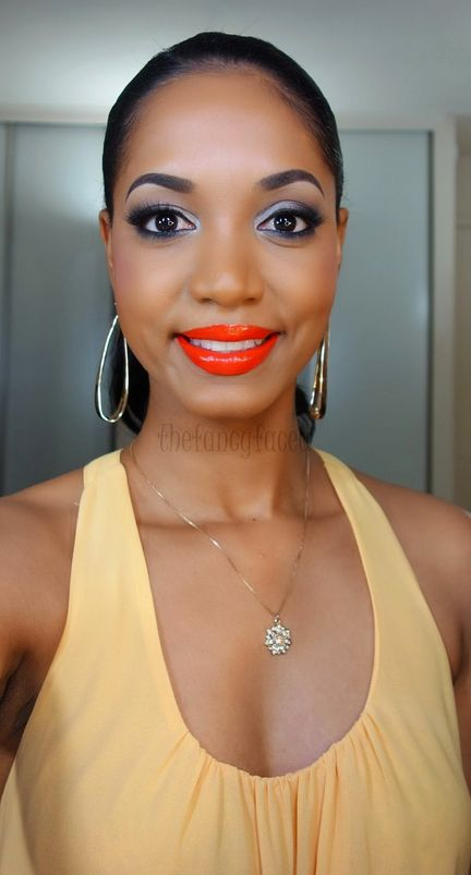 Ruby Kisses Lip Lacquer in Orange Coral | 21 Bright Lip Colors That Look Amazing On Dark Skin Tones. Flawless makeup!