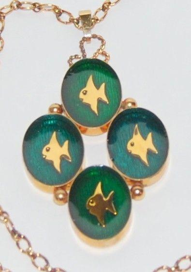 Vintage Carl Art Gold Filled Enamel Green Fish Modern Necklace Pendant Retro
