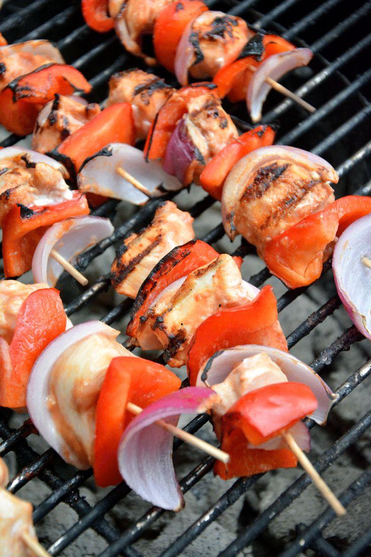 Fiery Glazed Mango BBQ Chicken Skewers