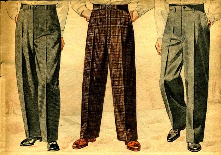 Fatta; såna här byxor är långt skönare än jeans. Rena mysbyxorna faktiskt. Vintage Mens Slacks (1942)