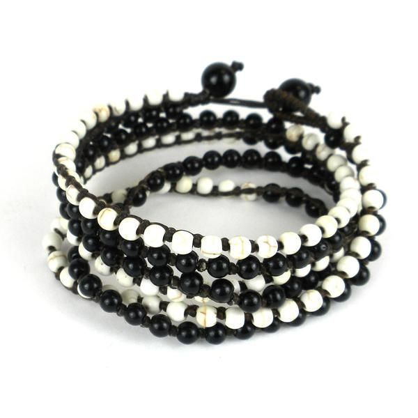Night & Day Wrap Bracelet with black and white beads and four ropes filled with beads