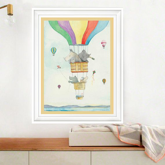 Balloon Trip Art Print Animal Illustration by Animoalphabets