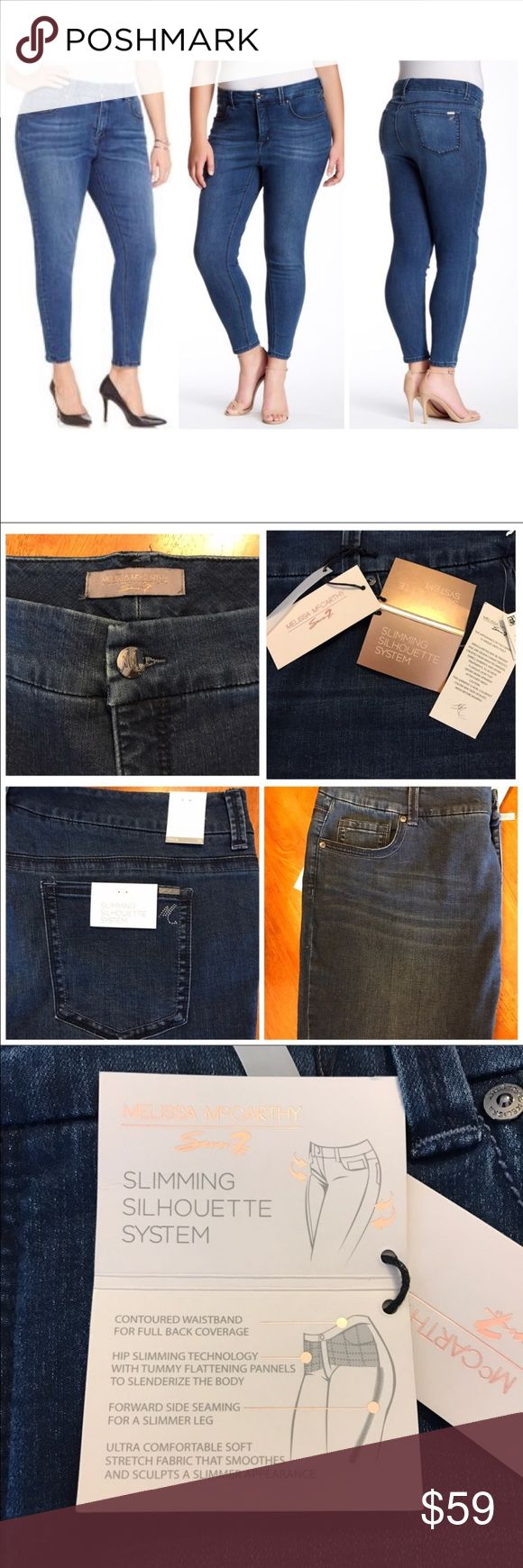 """PLUS SIZE Melissa McCarthy Stretch Skinny 👖 B77 - Zip fly with button closure - 5 pocket construction - Studded back pocket - Topstitch detail - Approx. 13.5"""" rise, 28"""" inseam - 71% cotton, 16% polyester, 12% rayon, 1% spandex Machine wash Fit: this style fits true to size. Melissa McCarthy Seven7 Stretch Skinny Jeans B77 Melissa McCarthy Jeans Skinny"""