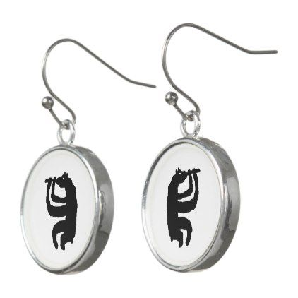 Bear Flute Player Earrings - jewelry jewellery unique special diy gift present