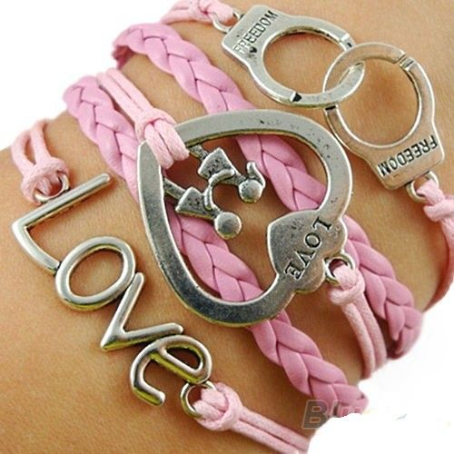 Beautiful pink bracelet LOVE FREEDOM via Freaks4fashion Online Store. Click on the image to see more!