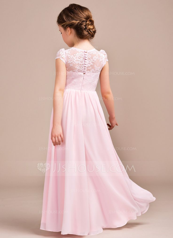 A-Line/Princess Scoop Neck Floor-Length Zipper Up Covered Button Cap Straps Sleeveless No Blushing Pink General Chiffon Lace Junior Bridesmaid Dress
