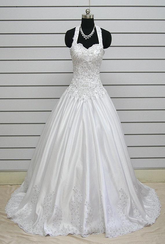 2012 Aline satin Halter Wedding Dress Bridal Gown by kissbridal, $228.00