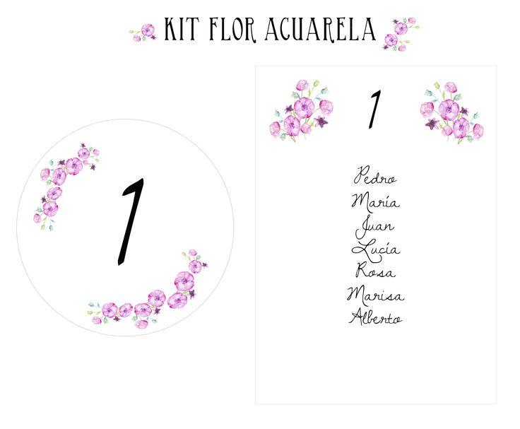 KIT FLOR ACUARELA  Dale un toque diferente a tu boda con el kit de flores pintadas a acuarelas. Flores en tonos rosadas y efecto acuarela. Incluye los números de mesa y el seatting. Escribe a tienda@algomagico.com También se realizan Kit completamente personalizados.