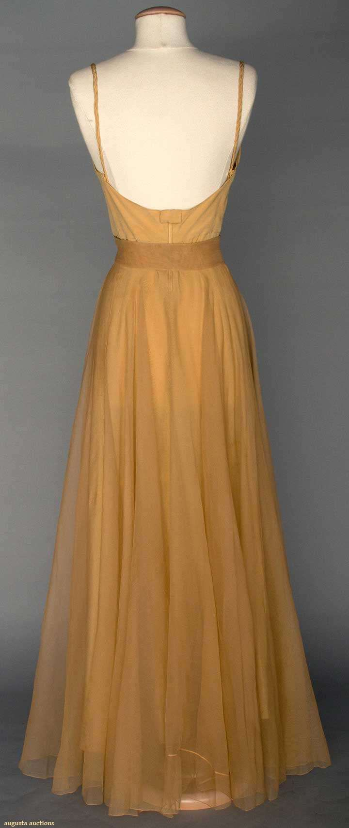 """VALENTINA SILK EVENING SKIRT, 1930s Unlabeled & bought at Valentina Schlee's personal estate sale #6951 Christie's East, 1990: tan silk illusion long open-front skirt w/ CF laced waistband, full length tan silk slip w/ braided narrow straps, W 26"""", L 45"""""""