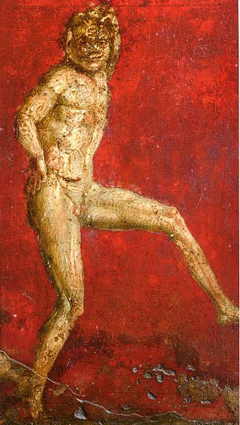 *POMPEII, ITALY ~ Dancing satyr (second style) from the cubiculum next to the Sala del Grande Dipinto in the Villa de Misteri