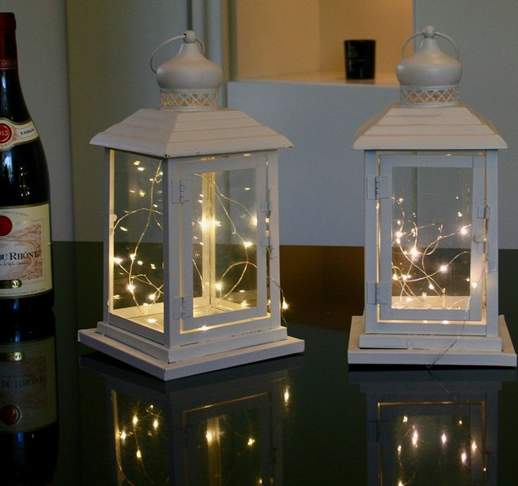 Link Products Cream Lantern Metal & Glass 28 Cm set 2: Amazon.co.uk: Kitchen & Home