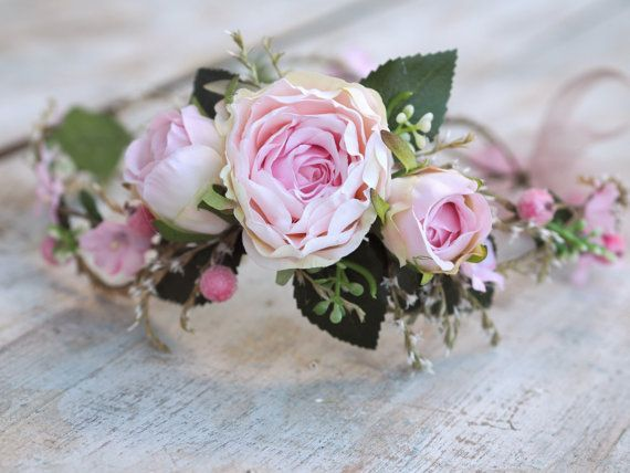 Pink Flower Hair Crown Wedding Hair Garland by TwoCatsAndAnOwl