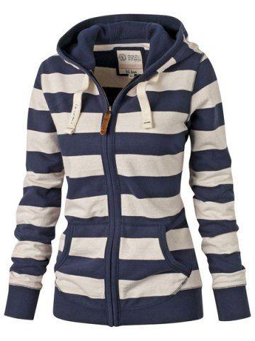 Hooded Long Sleeve Striped Zippered  Hoodie