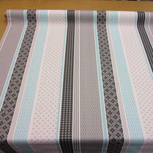 Stoff Punkte - Stoff beschichtet Baumwolle grau türkis Streifen - ein Designerstück von werthers-stoffe bei DaWanda