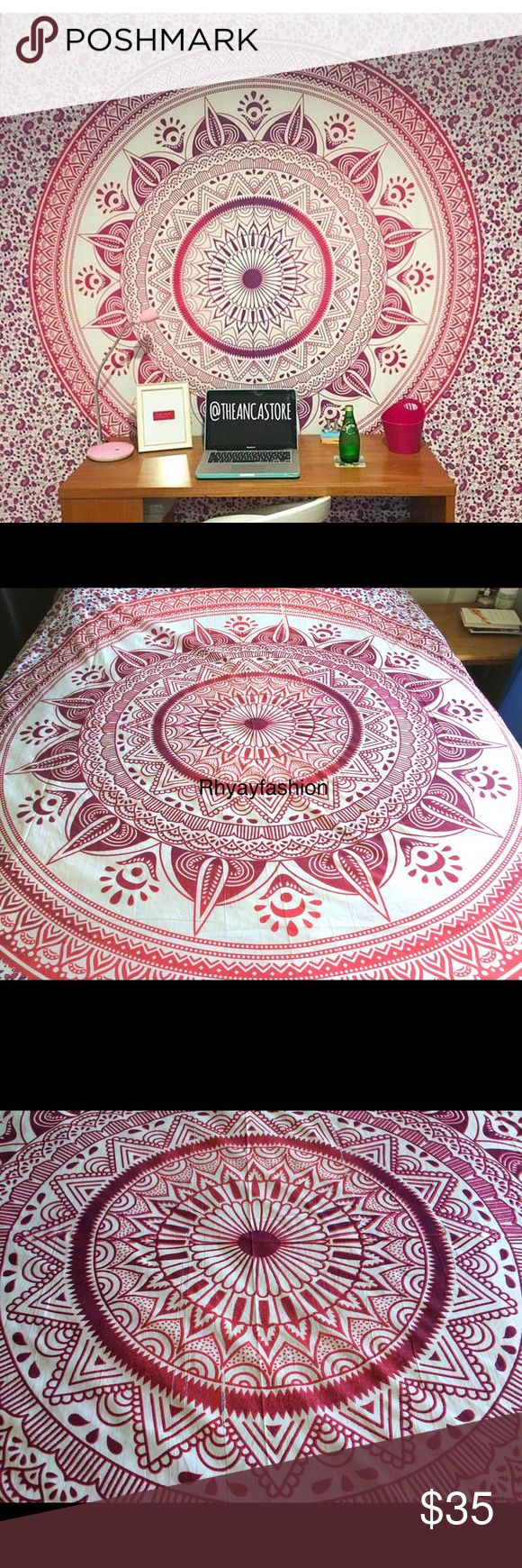 "💥Wall Decor Tapestry Mandala decor Teens room🎉 Brand new.Handmade with natural dyes.  Uses: bed spread, couch spread, curtains, wallhangings, Celling decor, beach mat, picnic mat, table cloth, yoga & meditation.  Size: 90"" X 84"" inch ( Queen bed)   Material;100% Cotton  Wash: cold wash Jackets & Coats Blazers"