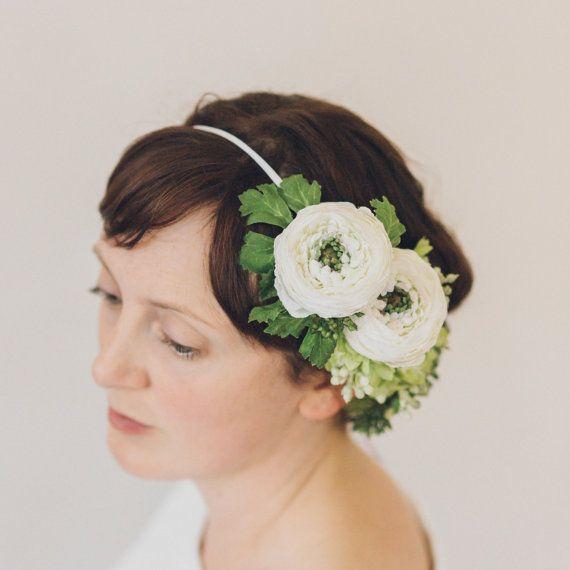 Ivory Ranunculus Lilac and Eucalyptus Silk Hair by OlannHandmade